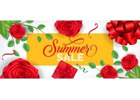 夏季促销字样为黄色边框白色背景上有玫瑰_2438910