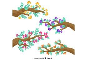 一套白色背景上的枝条和花朵_5445427