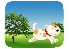 一条狗在公园里奔跑_4366199