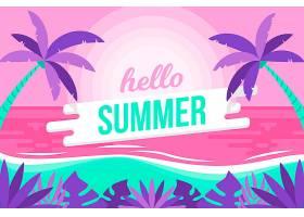 五颜六色的夏日背景与海滩_8271276