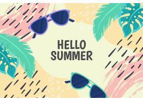 五颜六色的夏日背景带着树叶和太阳镜_8445266