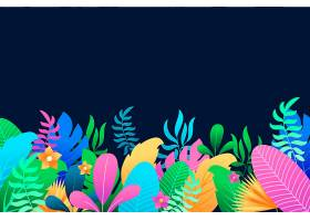 五颜六色的夏日背景有叶子和鲜花_8375255