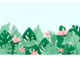 五颜六色的夏日背景有叶子和鲜花_8375261