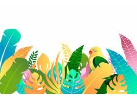 五颜六色的夏日背景有树叶和鸟_8375252