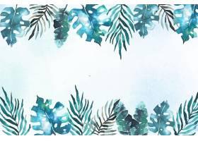背景为热带树叶水彩画_7872344