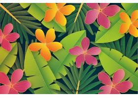 逼真的热带树叶和花卉背景_4793208