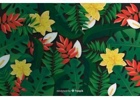 逼真的热带树叶和花卉背景_4793211
