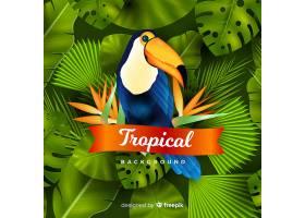 逼真的热带树叶和鸟类背景_4256988