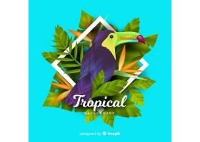 逼真的热带树叶和鸟类背景_4256989