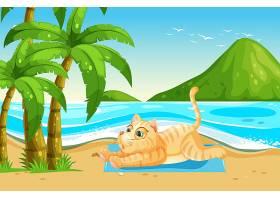 黄猫在海滩上放松_3436814