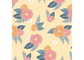 黄色背景上美丽的花卉无缝图案_9057672