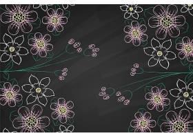 黑板背景上的紫罗兰和白花_6437491