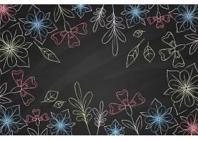 黑板背景上的花朵涂鸦_6437487