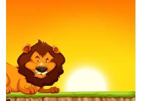 落日背景上的狮子_4428747