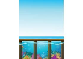 蓝色大海和水下背景的场景_4772985