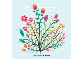 蓝色背景上扁平的五颜六色的花枝_5445421
