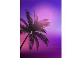 渐变背景上的棕榈树轮廓_4585488
