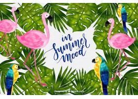 热带背景水彩画植物和鸟类_2520289