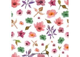 白色背景上的水彩画花卉背景_5445520