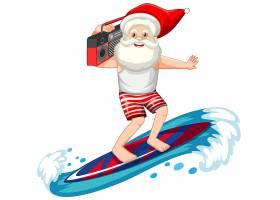 白色背景下的夏季主题圣诞老人冲浪_12321411