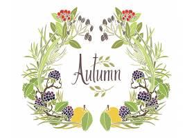 秋天的树叶树枝和苹果的框架_1380647