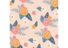 粉红色背景上美丽的花卉无缝图案_9057673