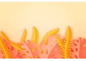 粉色和黄色热带树叶背景_8247381