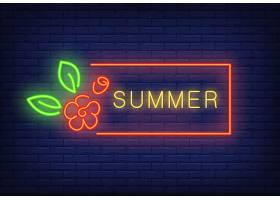 红色框架和花朵中的夏日霓虹灯文字季节性_2767075