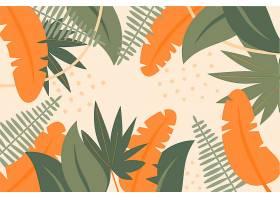绘制的热带树叶背景_7974232