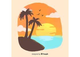 海滩日落日出棕榈剪影_4580736