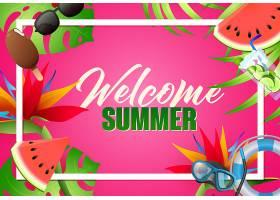 欢迎夏日明媚海报设计潜水面罩_4561285