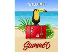 欢迎用海边手提箱和巨嘴鸟写上夏日字样_2542171