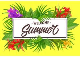欢迎用鲜花框住夏天的字样夏季优惠或销售_2542169