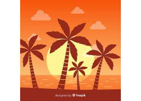 海滩的日落棕榈树的剪影_4487327