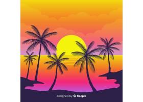 海滩的日落棕榈树的剪影_4497995