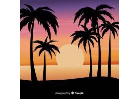 海滩的日落棕榈树的剪影_4497999