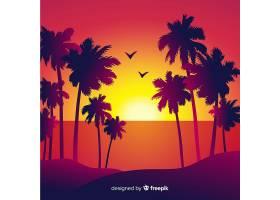 海滩的日落棕榈树的剪影_4528992