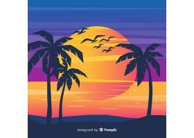 海滩的日落棕榈树的剪影_4528996