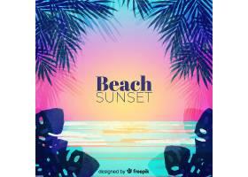 海滩的日落棕榈树的剪影_4551121