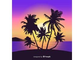 海滩的日落棕榈树的剪影_4566239
