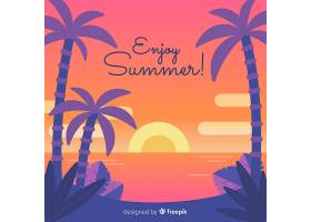 海滩的日落棕榈树的剪影_4595571