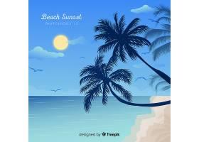 海滩的日落棕榈树的剪影_4620309