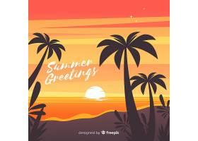 海滩的日落棕榈树的剪影_4620315