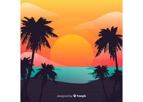 海滩的日落棕榈树的剪影_4620316
