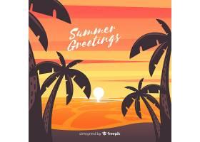 海滩的日落棕榈树的剪影_4620318