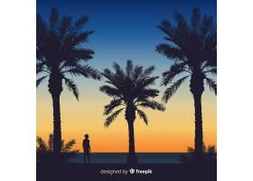海滩的日落棕榈树的剪影_4636392