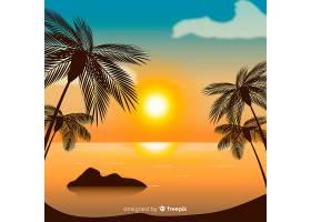 海滩落日景观背景_4472733