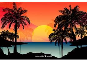 海滩落日景观背景_4472735