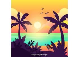 海滩落日景观背景_4472739