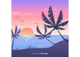 海滩落日景观背景_4472743